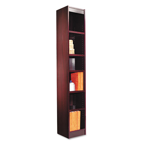 "Narrow Profile Bookcase, Wood Veneer, Six-Shelf, 11.81""w x 11.81""d x 71.73""h, Mahogany. Picture 1"