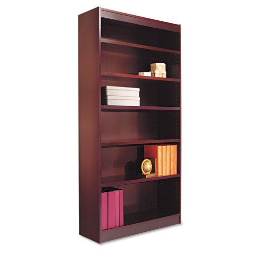 """Square Corner Wood Veneer Bookcase, Six-Shelf, 35.63""""w x 11.81""""d x 71.73""""h, Mahogany. Picture 1"""