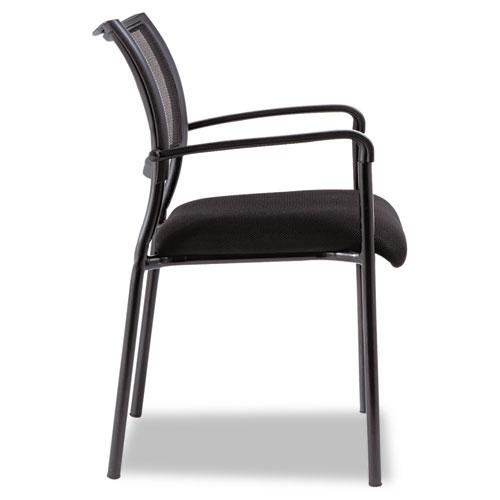Alera Eikon Series Stacking Mesh Guest Chair, Black Seat/Black Back, Black Base, 2/Carton. Picture 2