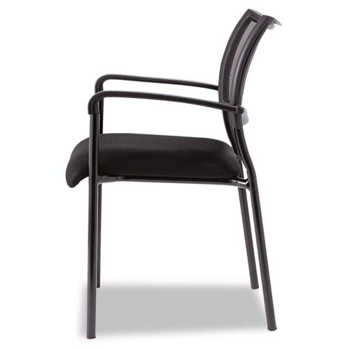 Alera Eikon Series Stacking Mesh Guest Chair, Black Seat/Black Back, Black Base, 2/Carton. Picture 3
