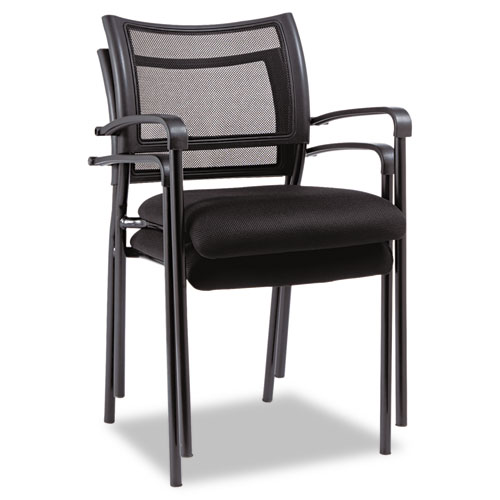 Alera Eikon Series Stacking Mesh Guest Chair, Black Seat/Black Back, Black Base, 2/Carton. Picture 4