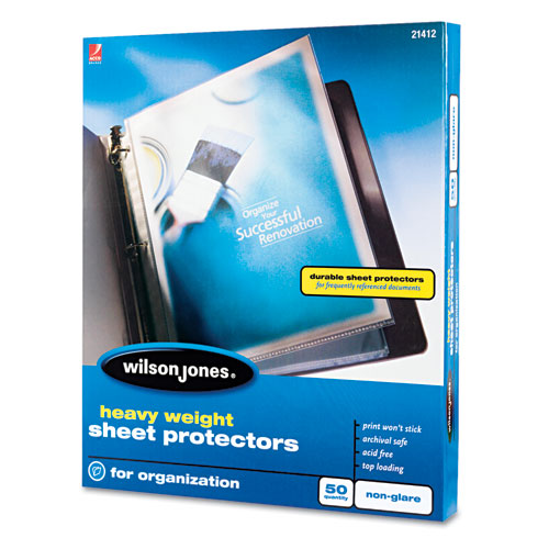 Heavyweight Top-Loading Sheet Protectors, Nonglare Finish, Letter, 50/Box. Picture 2