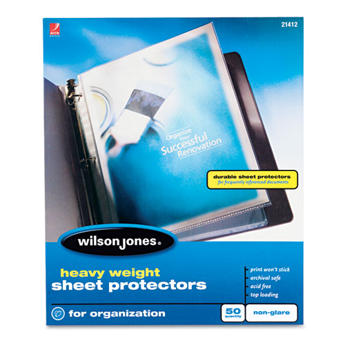 Heavyweight Top-Loading Sheet Protectors, Nonglare Finish, Letter, 50/Box. Picture 1