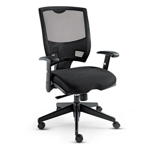 Alera Epoch Series Fabric Mesh Multifunction Chair, Supports up to 275 lbs, Black Seat/Black Back, Black Base. Picture 1