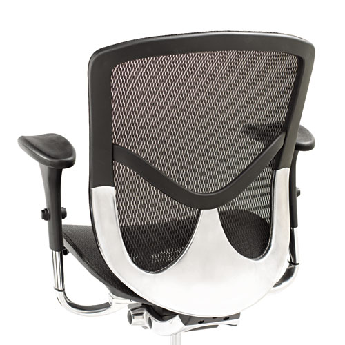 Alera EQ Series Ergonomic Multifunction Mid-Back Mesh Chair, Supports up to 250 lbs., Black Seat/Black Back, Aluminum Base. Picture 2