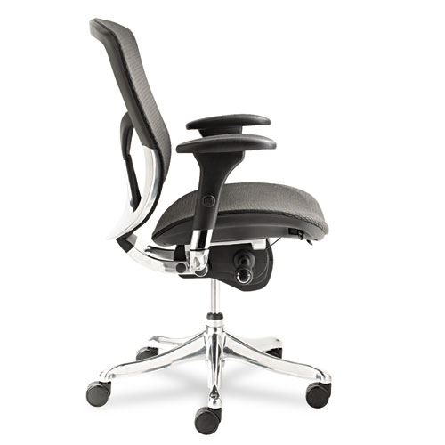 Alera EQ Series Ergonomic Multifunction Mid-Back Mesh Chair, Supports up to 250 lbs., Black Seat/Black Back, Aluminum Base. Picture 3
