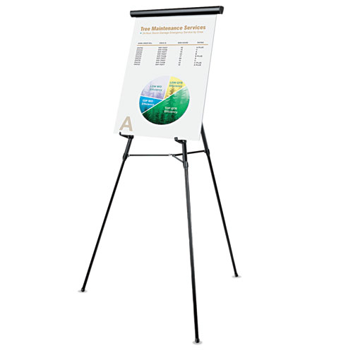 """3-Leg Telescoping Easel with Pad Retainer, Adjusts 34"""" to 64"""", Aluminum, Black. Picture 1"""