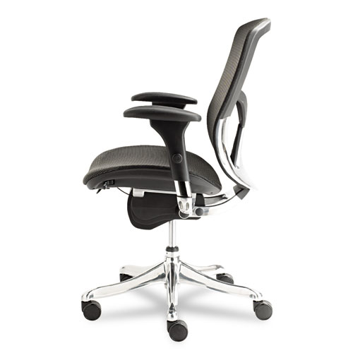 Alera EQ Series Ergonomic Multifunction Mid-Back Mesh Chair, Supports up to 250 lbs., Black Seat/Black Back, Aluminum Base. Picture 4