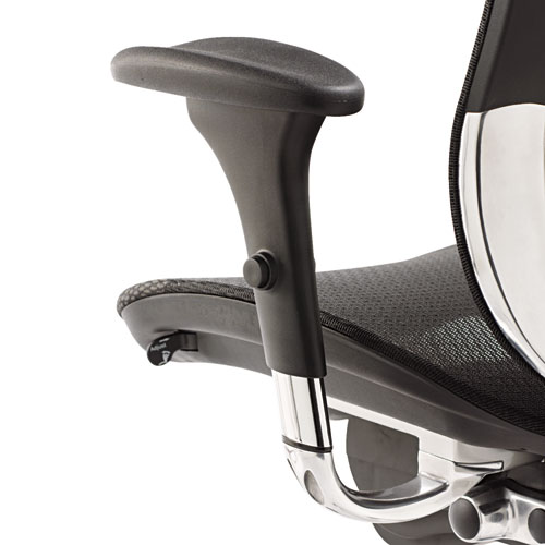 Alera EQ Series Ergonomic Multifunction Mid-Back Mesh Chair, Supports up to 250 lbs., Black Seat/Black Back, Aluminum Base. Picture 6