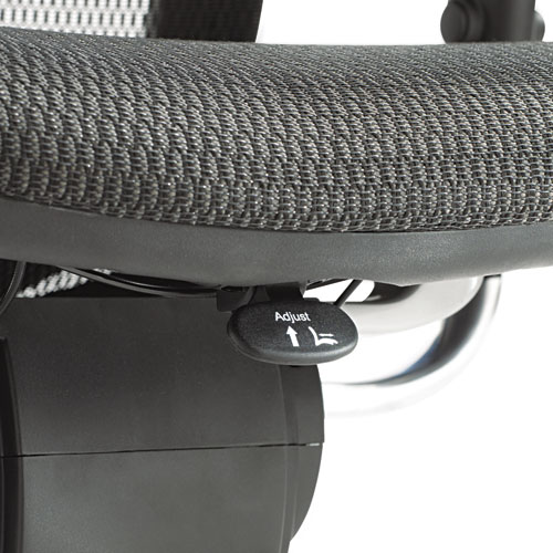 Alera EQ Series Ergonomic Multifunction Mid-Back Mesh Chair, Supports up to 250 lbs., Black Seat/Black Back, Aluminum Base. Picture 8