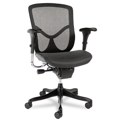 Alera EQ Series Ergonomic Multifunction Mid-Back Mesh Chair, Supports up to 250 lbs., Black Seat/Black Back, Black Base. Picture 1
