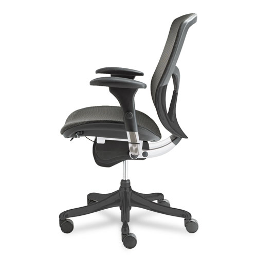 Alera EQ Series Ergonomic Multifunction Mid-Back Mesh Chair, Supports up to 250 lbs., Black Seat/Black Back, Black Base. Picture 2
