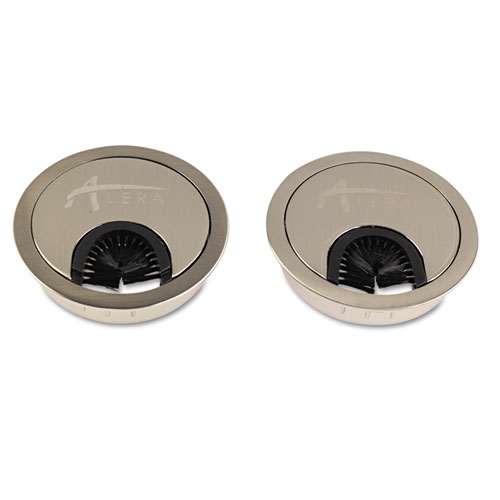 "Alera Valencia Series Optional Grommets, 2.63"" Diameter, Silver Metal, 2/Pack. Picture 1"