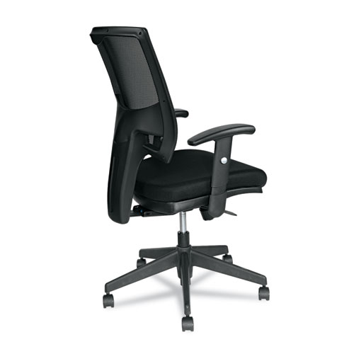 Alera Epoch Series Fabric Mesh Multifunction Chair, Supports up to 275 lbs, Black Seat/Black Back, Black Base. Picture 2
