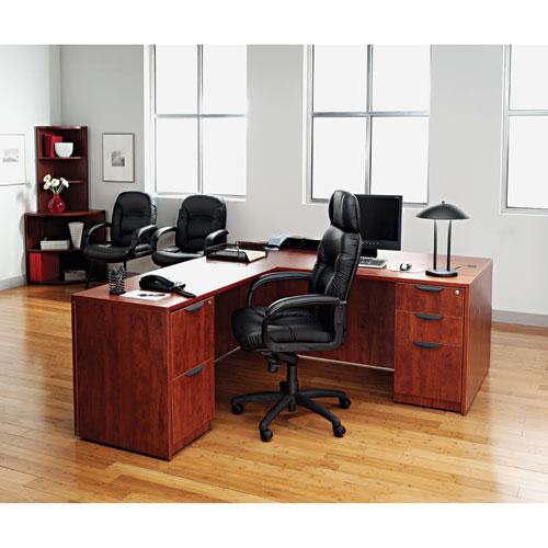 "Alera Valencia Series Straight Front Desk Shell, 65"" x 29.5"" x 29.63"", Medium Cherry. Picture 9"