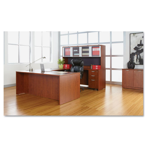 "Alera Valencia Series Straight Front Desk Shell, 71"" x 35.5"" x 29.63"", Medium Cherry. Picture 3"