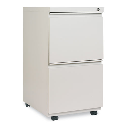 Two-Drawer Metal Pedestal File with Full-Length Pull, 14.96w x 19.29d x 27.75h, Light Gray. Picture 1