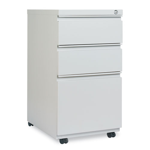 Three-Drawer Pedestal File with Full-Length Pull, 14.96w x 19.29d x 27.75h, Light Gray. Picture 1