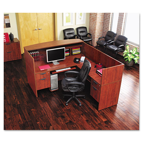 "Alera Valencia Series Straight Front Desk Shell, 71"" x 35.5"" x 29.63"", Medium Cherry. Picture 4"