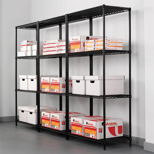 NSF Certified Industrial 4-Shelf Wire Shelving Kit, 36w x 24d x 72h, Black. Picture 5