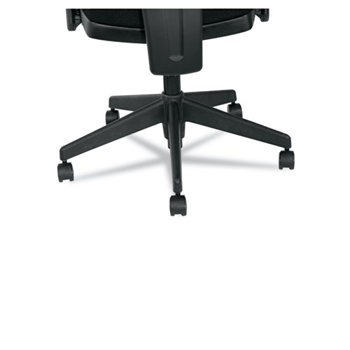 Alera Epoch Series Fabric Mesh Multifunction Chair, Supports up to 275 lbs, Black Seat/Black Back, Black Base. Picture 5