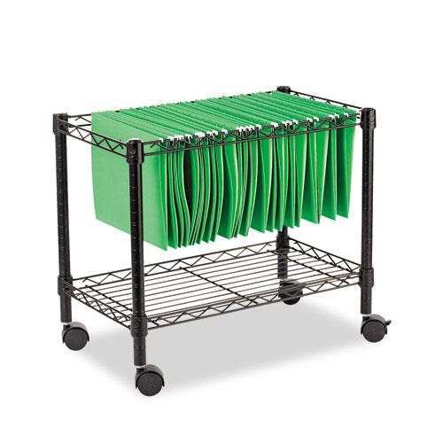 Single-Tier Rolling File Cart, 24w x 14d x 21h, Black. Picture 1