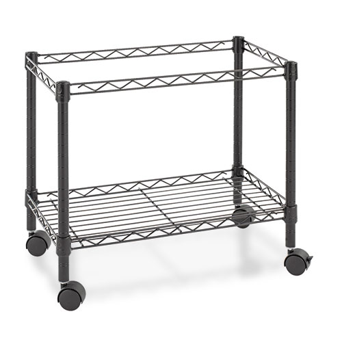 Single-Tier Rolling File Cart, 24w x 14d x 21h, Black. Picture 2