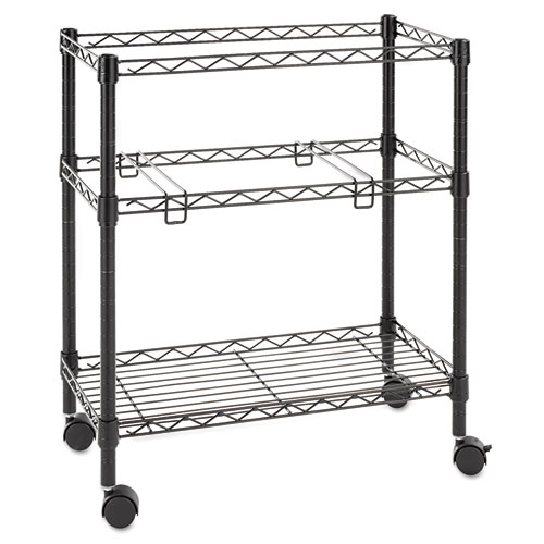 Two-Tier Rolling File Cart, 26w x 14d x 29.5h, Black. Picture 2
