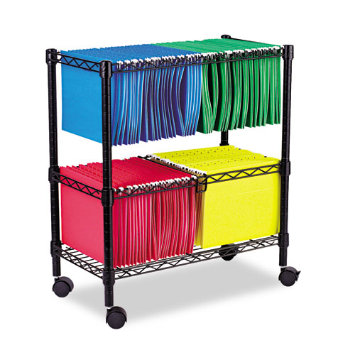 Two-Tier Rolling File Cart, 26w x 14d x 29.5h, Black. Picture 1