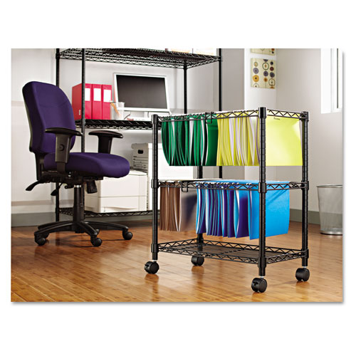 Two-Tier Rolling File Cart, 26w x 14d x 29.5h, Black. Picture 4
