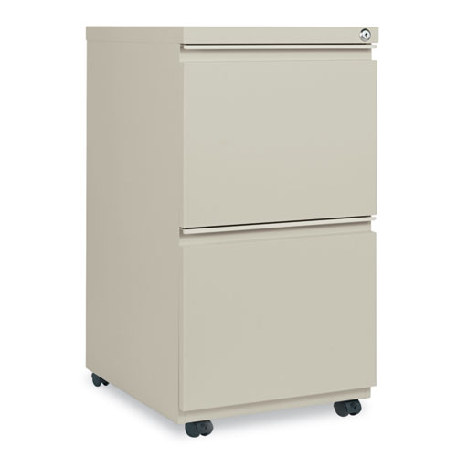 Two-Drawer Metal Pedestal File with Full-Length Pull, 14.96w x 19.29d x 27.75h, Putty. Picture 1