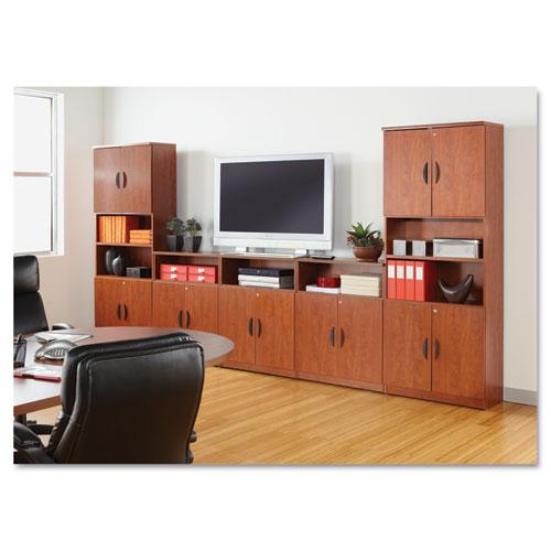 Alera Valencia Series Bookcase, Three-Shelf, 31 3/4w x 14d x 39 3/8h, Med Cherry. Picture 3