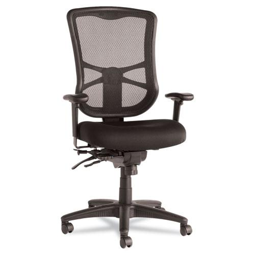 Alera Elusion Series Mesh High-Back Multifunction Chair, Supports up to 275 lbs, Black Seat/Black Back, Black Base. Picture 1