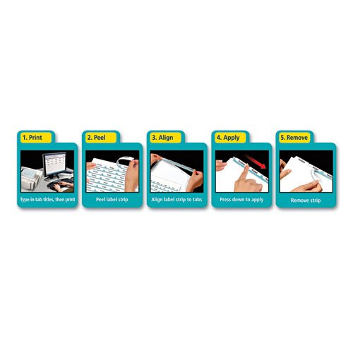 Index Maker EcoFriendly Print and Apply Clear Label Dividers with White Tabs, 5-Tab, 11 x 8.5, White, 5 Sets. Picture 2
