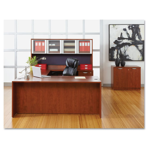 "Alera Valencia Series Straight Front Desk Shell, 71"" x 35.5"" x 29.63"", Medium Cherry. Picture 5"