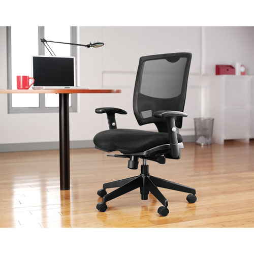 Alera Epoch Series Fabric Mesh Multifunction Chair, Supports up to 275 lbs, Black Seat/Black Back, Black Base. Picture 9