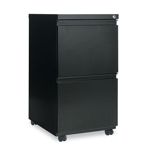 Two-Drawer Metal Pedestal File with Full-Length Pull, 14.96w x 19.29d x 27.75h, Black. Picture 1