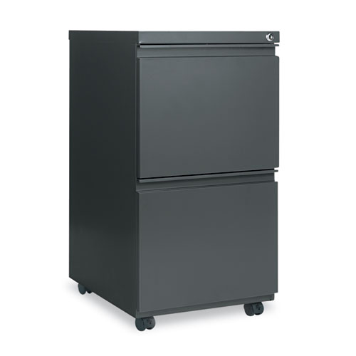 Two-Drawer Metal Pedestal File with Full-Length Pull, 14.96w x 19.29d x 27.75h, Charcoal. Picture 1