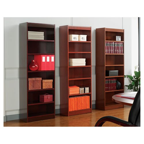 """Square Corner Wood Veneer Bookcase, Six-Shelf, 35.63""""w x 11.81""""d x 71.73""""h, Mahogany. Picture 2"""