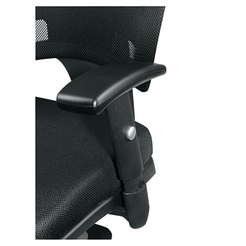 Alera Epoch Series Fabric Mesh Multifunction Chair, Supports up to 275 lbs, Black Seat/Black Back, Black Base. Picture 10