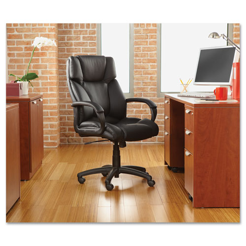 Alera Fraze Executive High-Back Swivel/Tilt Bonded Leather Chair, Supports up to 275 lbs, Black Seat/Black Back, Black Base. Picture 2