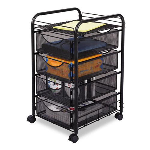 Onyx Mesh Mobile File With Four Supply Drawers, 15.75w x 17d x 27h, Black. Picture 1