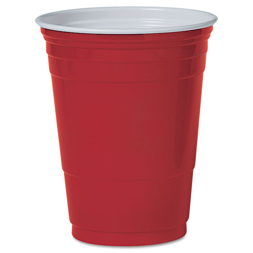 Solo Plastic Party Cold Cups, 16oz, Red, 50/Pack. Picture 1