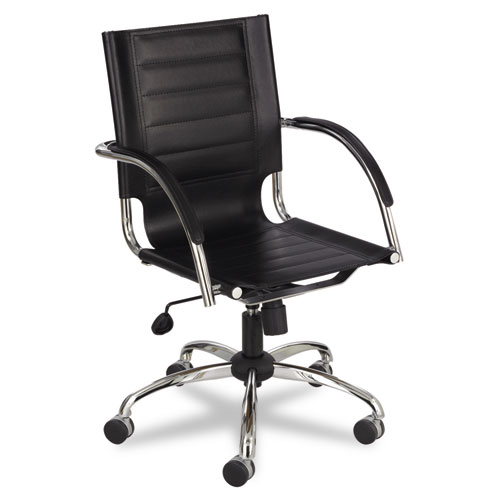 Flaunt Series Mid-Back Manager's Chair, Supports up to 250 lbs., Black Seat/Black Back, Chrome Base. Picture 1