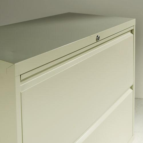 Two-Drawer Lateral File Cabinet, 36w x 18d x 28h, Light Gray. Picture 2