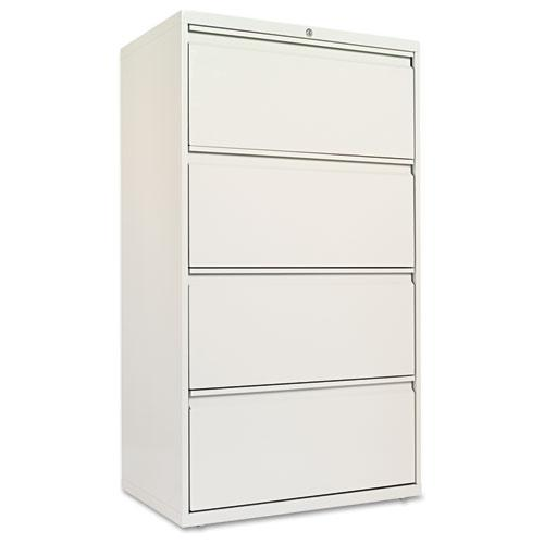 Four-Drawer Lateral File Cabinet, 30w x 18d x 52.5h, Light Gray. Picture 1