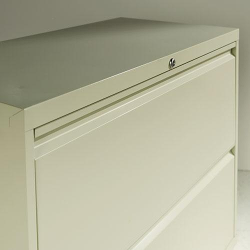 Four-Drawer Lateral File Cabinet, 30w x 18d x 52.5h, Light Gray. Picture 2