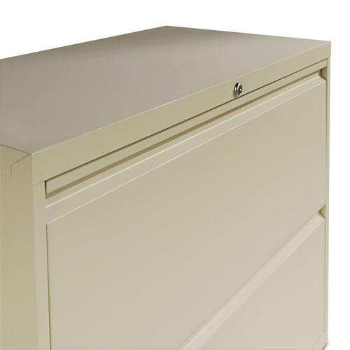 Four-Drawer Lateral File Cabinet, 36w x 18d x 52.5h, Putty. Picture 2