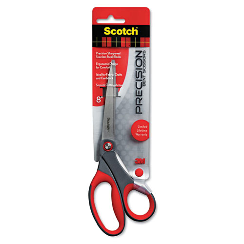 "Precision Scissors, 8"" Long, 3.25"" Cut Length, Gray/Red Offset Handle. Picture 1"