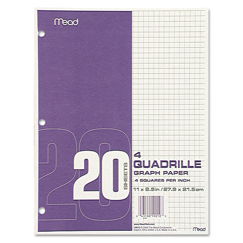 Graph Paper Tablet, 3-Hole, 8.5 x 11, Quadrille: 4 sq/in, 20 Sheets/Pad, 12 Pads/Pack. Picture 1